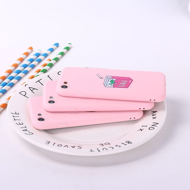 Lovebay Soft Pink Strawberry Milk Box Cases For iphone
