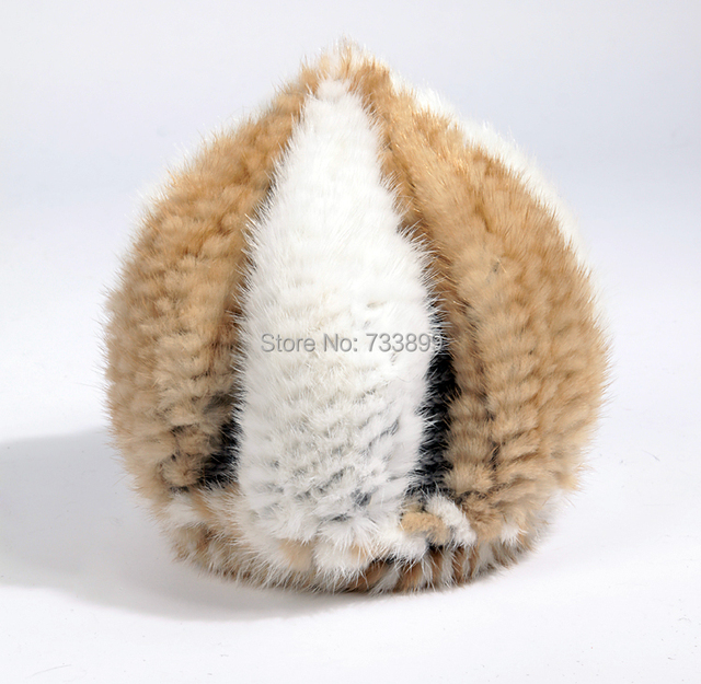 HA128-New Luxury hat with natural mink fur. Fashion Autumn winter knitted warm gold women fur cap