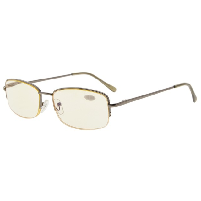 d6309f9fa1 CG15015 Eyekepper Classic Metal Frame Half Rim Spring Temples Computer Reading  Glasses Readers Yellow Tinted Lenses
