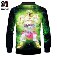 OGKB 2018 Spring Fall Funny Print Dragon Ball Z 3D Jackets With Zip Anime Coat Men's Hiphop Sportswear Cosplay Tracksuits 6xl