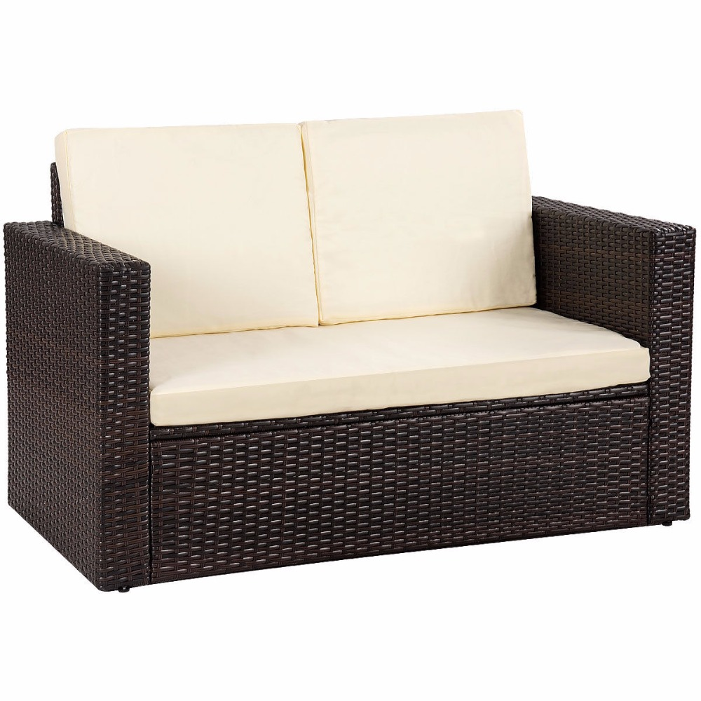 Outdoor Sofa Rattan Giantex 2pcs Patio Rattan Loveseat Sofa Ottoman Daybed Garden Furniture Set W Cushions Outdoor Furniture Hw58604 In Garden Sofas From Furniture On