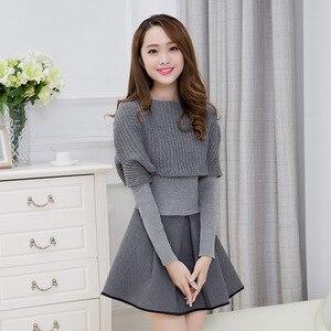 Image 2 - Primavera e invierno 2019 nueva versión Coreana de Mujeres de cultivar vestido de dos piezas de manga larga traje de moda A line vestido