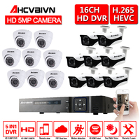 AHCVBIVN 5MP AHD CCTV Surveillance Kit 16CH 5.0MP Security Camera System Indoor Outdoor Weatherproof CCTV Camera DVR NVR Set