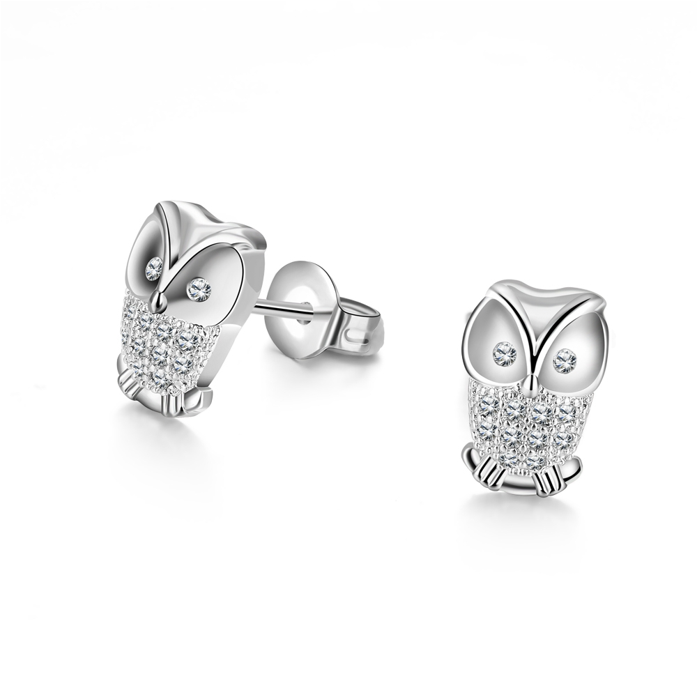 Us 2 76 5 Off Cute Silver Color Owl Earrings For Women Fashion Austrian Crystal S Animal Stud Earring Lady Wedding Gift In
