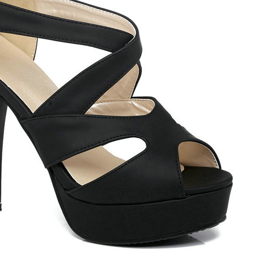silver Toe Negro Cuero Pu Señoras Plataforma Alto Qutaa Mujeres rojo Peep Mujer Sandalias Negro 2017 De Cuadrados Tacón Zapatos Gray Zipper rosado 34 Tamaño Boda 43 xvBOw