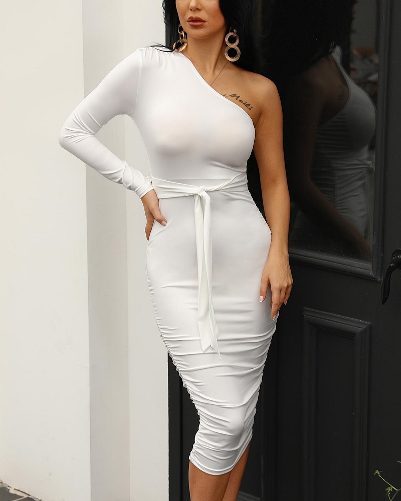 HTB17 2qRbPpK1RjSZFFq6y5PpXaQ - Women Elegant Fashion Sexy White Cocktail Party Slim Fit Dresses One Shoulder Belted Ruched Design Bodycon Midi Dress