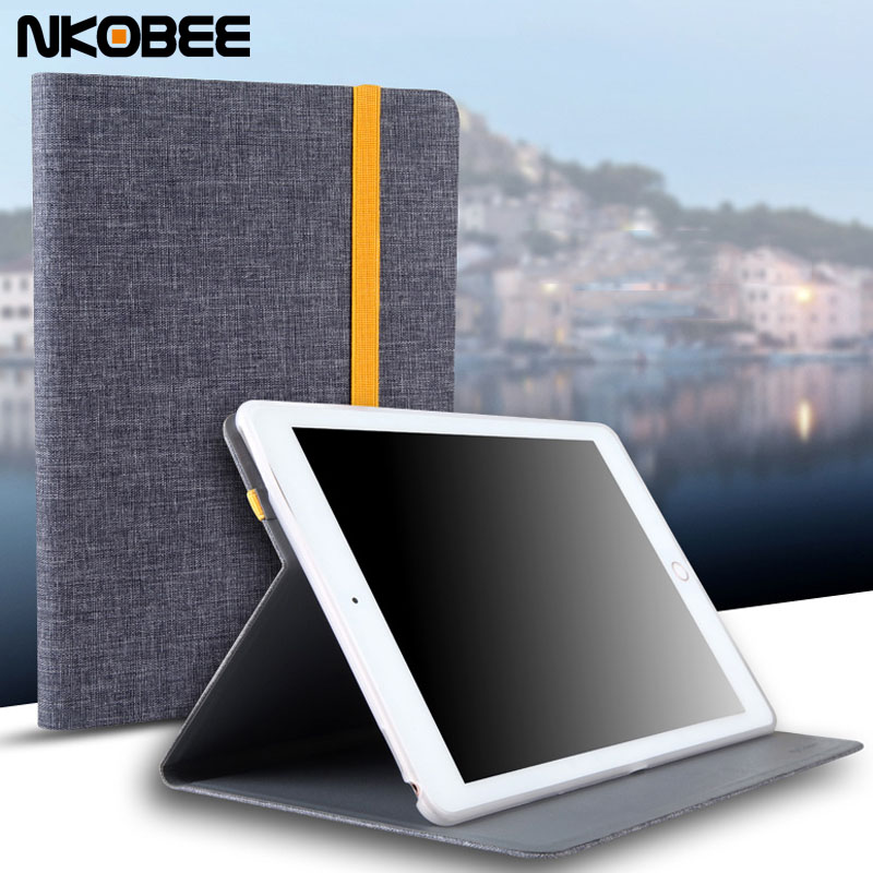 NKOBEE For iPad 2017 Case Canvas Silicon Case for iPad 9.7 2017 Smart Wake Cover For iPad 2017 Tablet Case Funda New model A1822