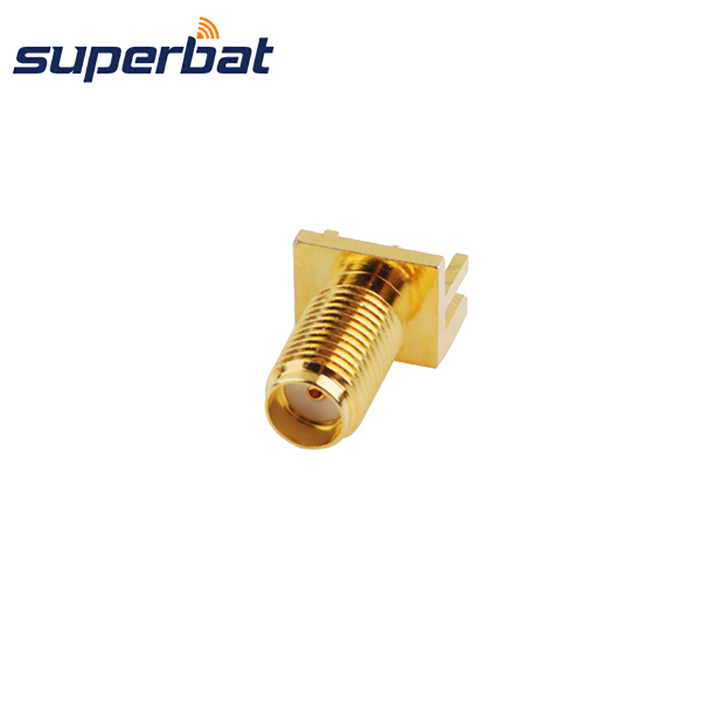 Superbat SMA End Launch Jack Female Connector 50 Ohm PCB Straight End Launch PCB Mount .062 (1.57mm) medium version