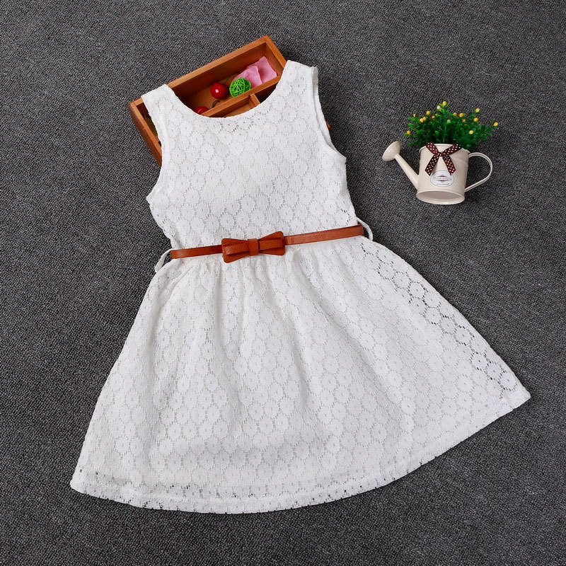 Retail Korea Style Solid Color Girls Lace O-neck Polka Dots Hollow Flower Summer Dress With Belt Bow Children Girl Party Clothes