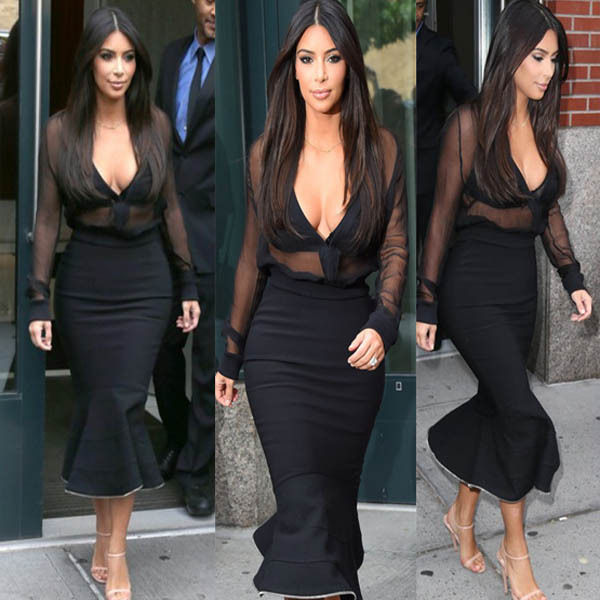Kim Kardashian Deep V-neck long sleeve Dresses 3