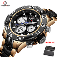 Relogio Mens Watches Top Brand Luxury GOLDENHOUR Business Sport Digital Quartz Watches Men Waterproof Steel Wristwatches Clock