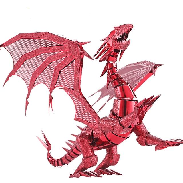 Piececool 2016 новые 3D металла Паззлы дракона огненно-красный и серебристый Цвет 3D собрать модель Наборы DIY смешно подарки для детей игрушки