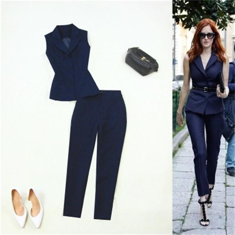 Large size women s clothing 2018 spring and summer new dark blue suit collar Slim OL