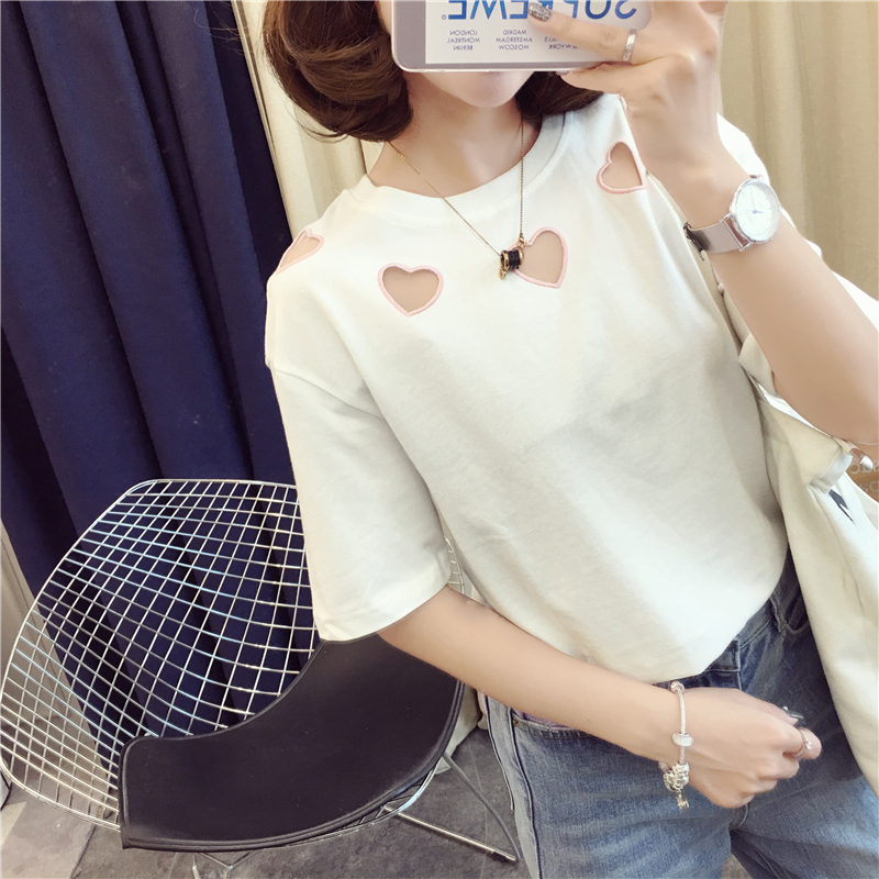 NiceMix Women 39 s T shirts Punk Japan Kawaii Ladies Vintage Bf Embroidery Love Hollow Student Ulzzang Female Harajuku Tshirt Wome in T Shirts from Women 39 s Clothing