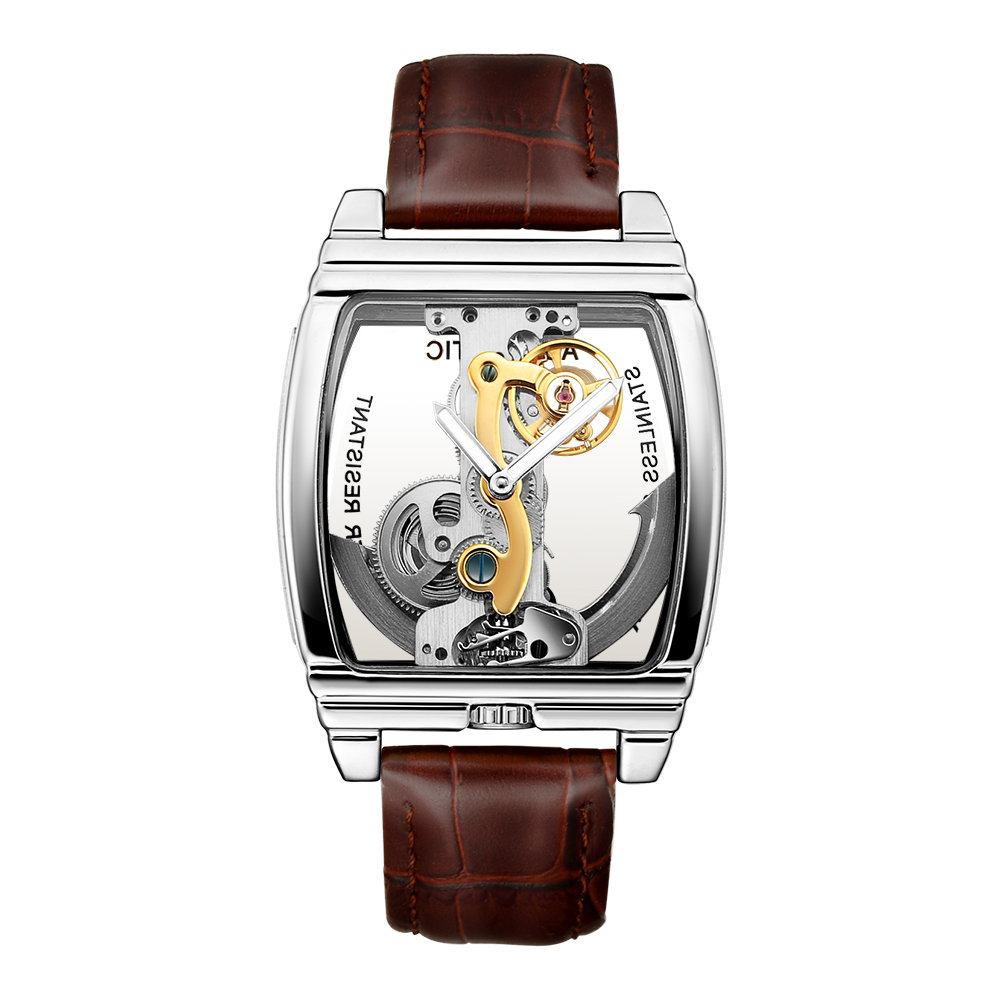SHENHUA 2019 Mens Watches Top Brand Luxury Genuine Leather Belt Transparent Skeleton Automatic Mechanical Wristwatch Male Clock-in Mechanical Watches from Watches    1