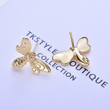 (172) 6PCS 13x17MM 24K Gold Color Brass Bee Stud Earrings High Quality Diy Jewelry Findings Accessories