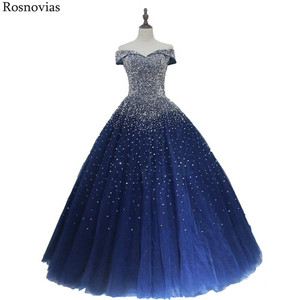 Image 1 - Navy Blue Ball Gown Quinceanera Dresses 2020 Off Shoulder Lace up Back Major Beading Princess Puffy Prom Party Dresses