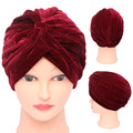 2016 1Pc Fashion Vogue Muslim Gold Velvet Headscarves India Women Headdress Hot Baotou Hat Cap New