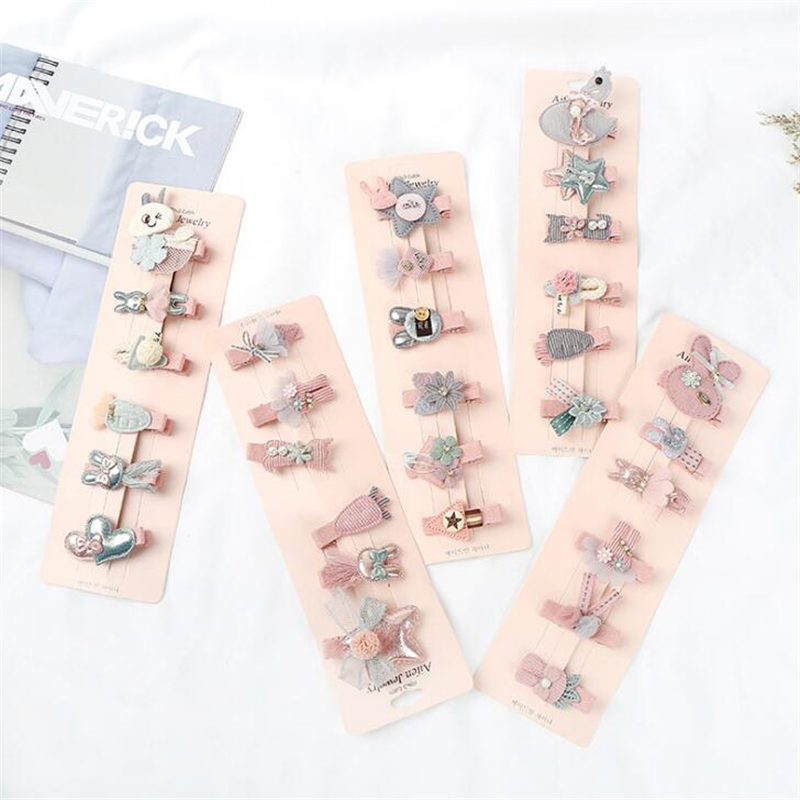 6 Pcs/2 Pcs/set Children Girls Lovely Star Animal Princess Hair Clips Hair Accessories Cute Kids Lace Flower Barrette Hairpins