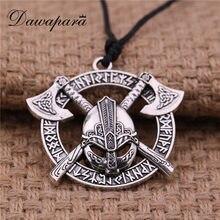 2e6b3ed21bf6 (Se envía desde ES) Dawapara hombres vikingo hacha casco colgante collar  Odin raven eslava amuleto Taliman wicca joyería mejor regalo oro color plat.