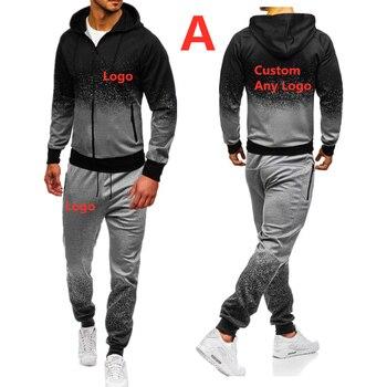 A pour hommes automne printemps sport costume sweat-shirt pantalons de survêtement marque voiture Logo imprimé hommes zipper hoodies pantalon Slim survêtement
