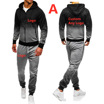 A For Men's Autumn Spring Sporting Suit Sweatshirt Sweatpants Brand Car Logo print Mens zipper hoodies pants Slim Tracksuit