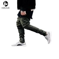 Justin Bieber Brand Style Side Zipper Men Slim Fit Casual Mens Hip Hop Jogger Biker Pants