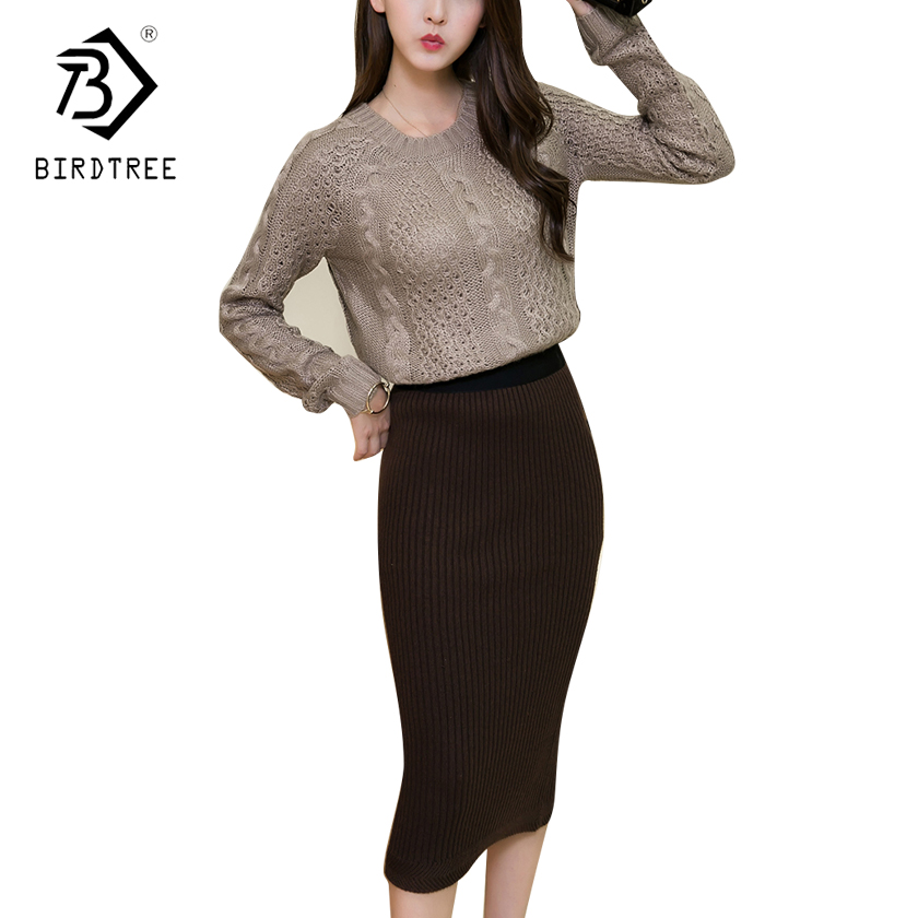 Autumn Winter Cropped Sweater And Skirt Set 2 Pieces Sweater Sets Women Knitted Suit Long Sleeves Tops +Mid-Calf Skirts S7D102A