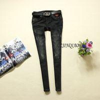 2018 Jeans Womens Black Slim Low Waist Jeans 100% Cotton Jeans Skinny Pencil Pants Full Length Vintage Zippers Denim Jeans 535