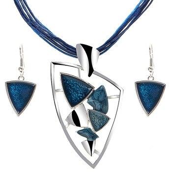 Leather Chain Enamel Gem Jewelry Set 3