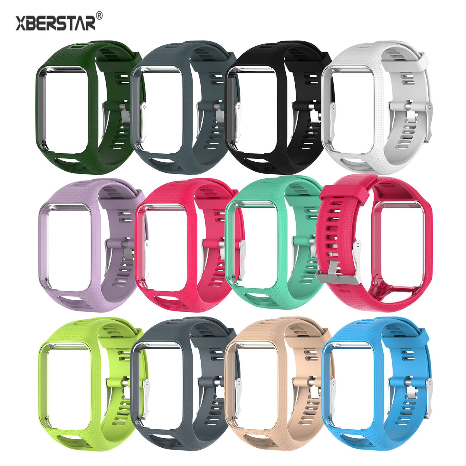 XBERSTAR Replacement Band for TomTom Runner 2 3 Watchband Strap for TomTom Spark Golfer Adventurer Spark 3 GPS Watch TPE
