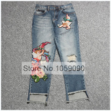 c5bb45141ad Luxury Washed Denim Cropped Ripped Jeans Front Floral Angle Patch  Embellished Irregular Cuffs Back Pockets Short