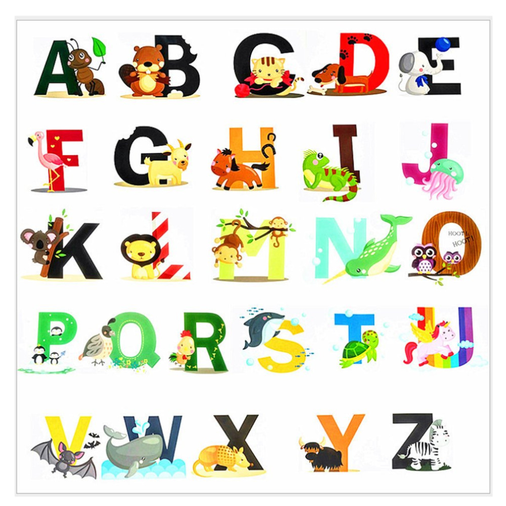 26 Alphabets Animals Cartoon Decal Removable Stickers Kids Baby Art Mural Decor Educational For Kids Nursery Room Stickers
