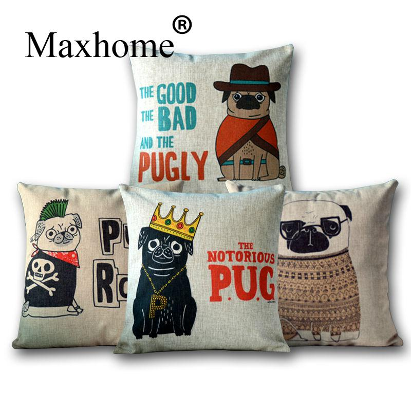 Cartoon Pug Sofa Cushion Linen Cotton Pillowcase for cars Decorative Pillow Home Decor Throw Pillow Cushion 45x45