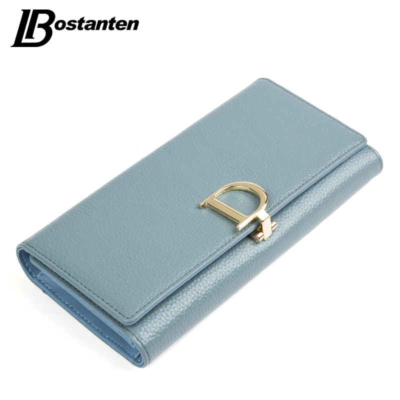 цены BOSTANTEN 2017 Genuine Leather Women Wallets Luxury Famous Brand Wallets for Women Coin Purses Holders Ladies Wallet Long Purses
