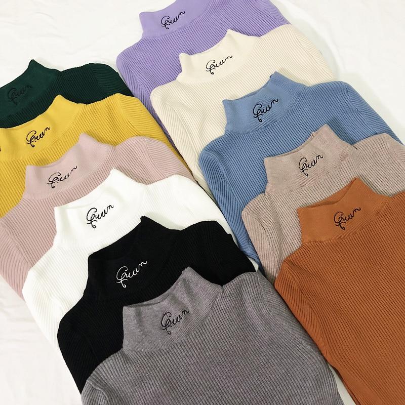 Women's Turtleneck Letter Sweater Women Embroidery Sweaters Fashion Jersey Women Winter 2018 Autumn Pullover Sweater Jumper New