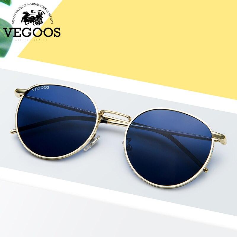 VEGOOS Polarized Sunglasses Women Unisex Round Metal Frame Driving Glasses Fashion Retro Polaroid Sun Glasses For