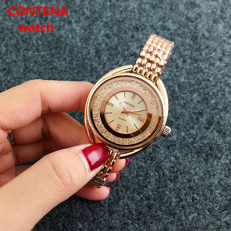 New Top Brand Contena Luxury  Montre Watch Femme Fashion Ladies Women Rhinestones Full Logo Watches Quartz Mujer Crystal Relojes tezer ladies fashion quartz watch women leather casual dress watches rose gold crystal relojes mujer montre femme ab2004