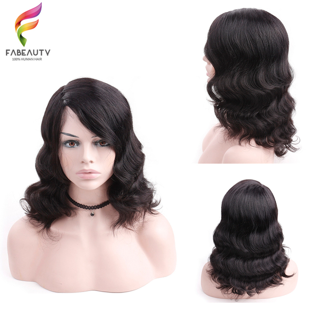 Short Bob Wig Body Wave 100% Human Hair Wigs Remy Hair 150% Density With  Bangs Side Part Machine Made Wigs For Black Women acd66287df