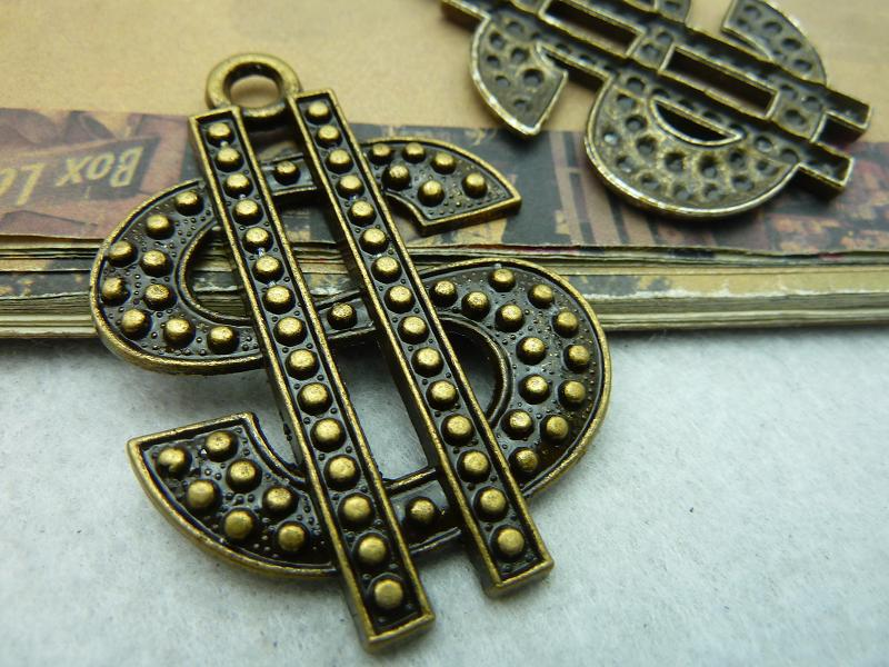 10pcs a lot Free Shipping vintage style Antique Bronze Dollar Sign Charm Pendant Jewelry findings accessory