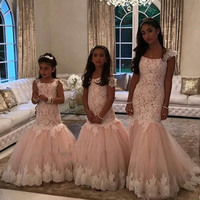 2019 Mermaid Girls Pageant Gowns Lace Applique Cap Sleeve Flower Girls Dresses Children Tulle Kids Birthday Party Dress