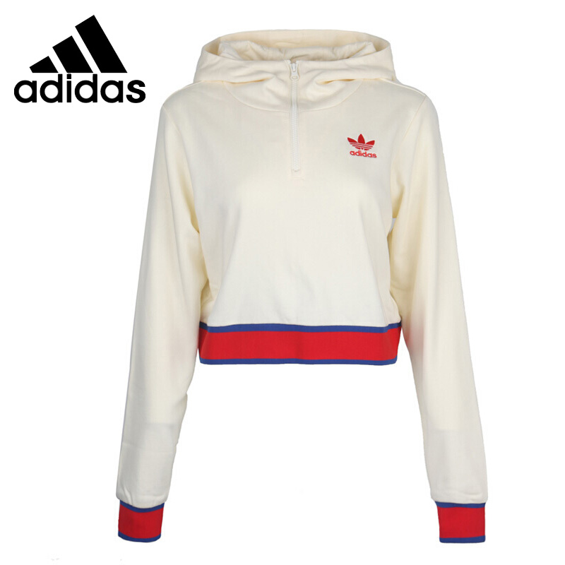 Original New Arrival Adidas Originals EA Crop HZ HD Women's Pullover Hoodies Sportswear open shoulder raw edge cut and sew crop pullover
