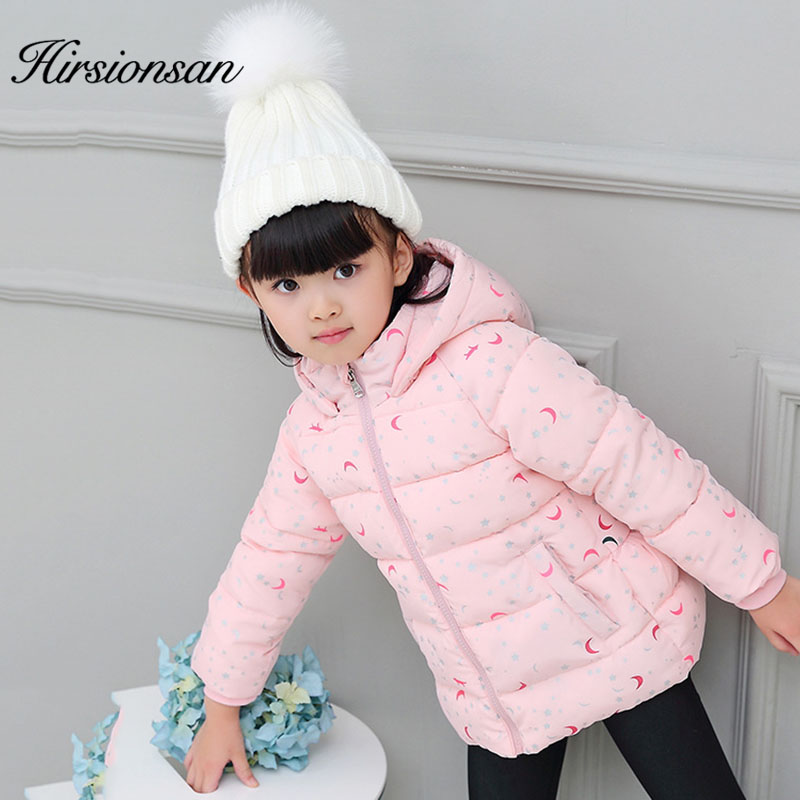 Hirsionsan Winter Jacket for Girls Star Moon Princess Cotton Padded Clothes Warm Coat for Big Kids Outerwear Children Parkas children winter coats jacket baby boys warm outerwear thickening outdoors kids snow proof coat parkas cotton padded clothes