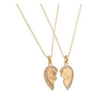 53e1ad730f9f Pareja Collares amante vintage oro enclavamiento parte del corazón Del mejor  amigo del collar tono 2 Colgantes 2 Collares BFF joyería nl-2486