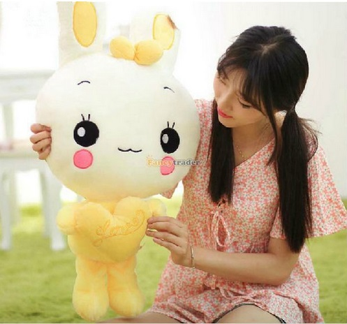 Fancytrader  90cm  One Piece Giant Lovely Plush Soft Stuffed Dress Heart Rabbit Bunny Toy Doll Bunny for Gift Free Shipping fancytrader 2015 novelty toy 24 61cm giant soft stuffed lovely plush seal toy nice gift for kids free shipping ft50541