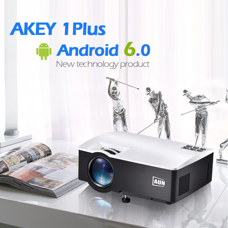 AUN LED Projector AKEY1 Plus, Built-in Android 6.0, WIFI, Bluetooth. 1800 Lumens Beamer Support 4K Vdeo 1080P for Home Theater 1