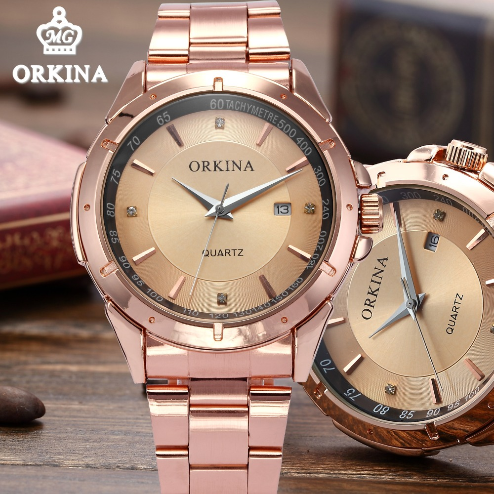 Orkina 2016 Mens Watches Top Brand Luxury Rose Gold Wrist Watch Men Dress Quartz Auto Date Man Business Clock Relogio Masculino orkina gold watch 2016 new elegant armbanduhr herrenuhr quarzuhr uhr cool horloges mannen gift box wrist watches for men