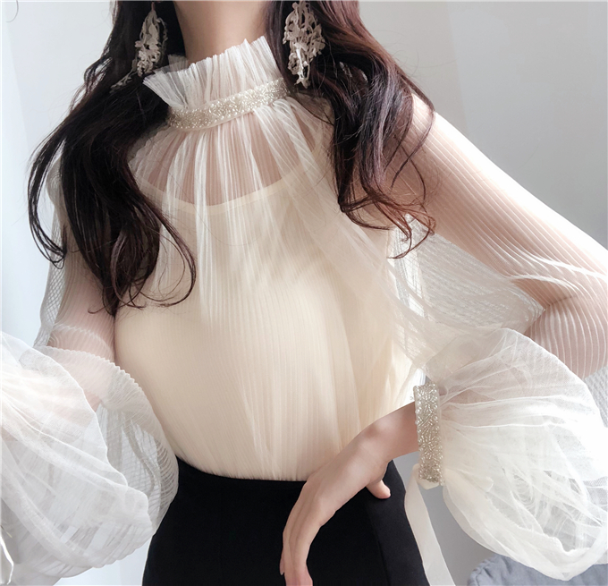 2018 Spring Girls Turtleneck Transparent Mesh   Blouses     Shirts   Tees Girls Lantern Sleeve Sweet Chic   Blouses   Tops For Women