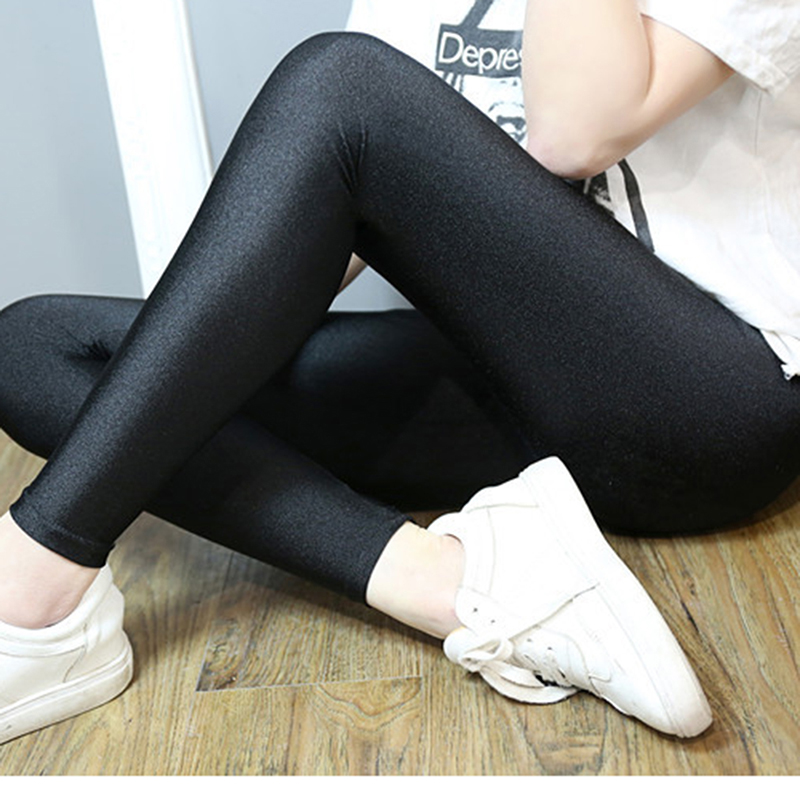 Women Shiny Black   Legging   Autumn Ladies Push Up Slim   Leggings   High Waist Stretchy Soft Large Size Women   Leggings   Leotardos