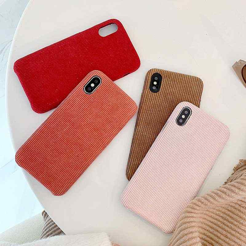 Boucho Ultra thin Soft สำหรับ iphone Xs MAX XR X Corduroy ผ้าสำหรับ iphone 6 6s 7 8 Plus XS soft Case